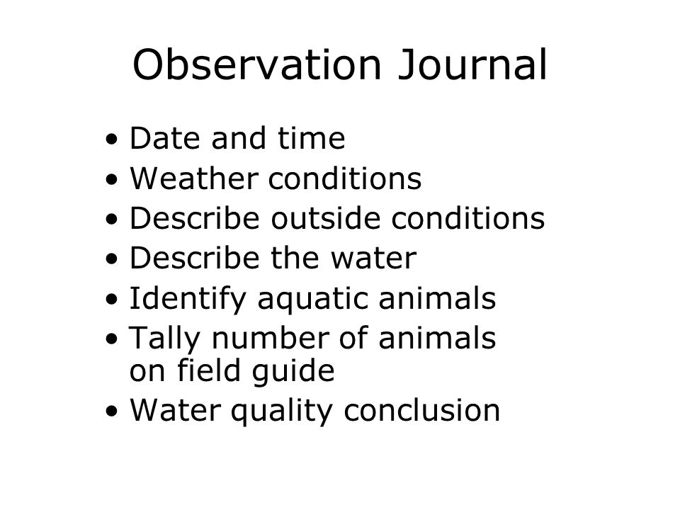 Observation Journal Date and time Weather conditions