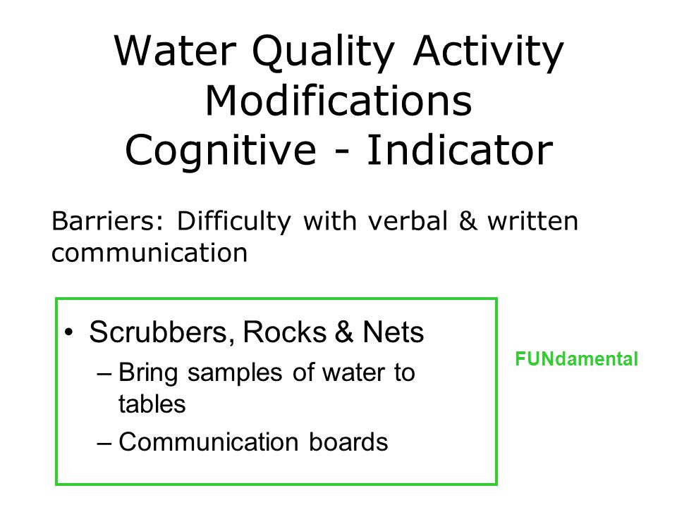 Water Quality Activity Modifications Cognitive - Indicator