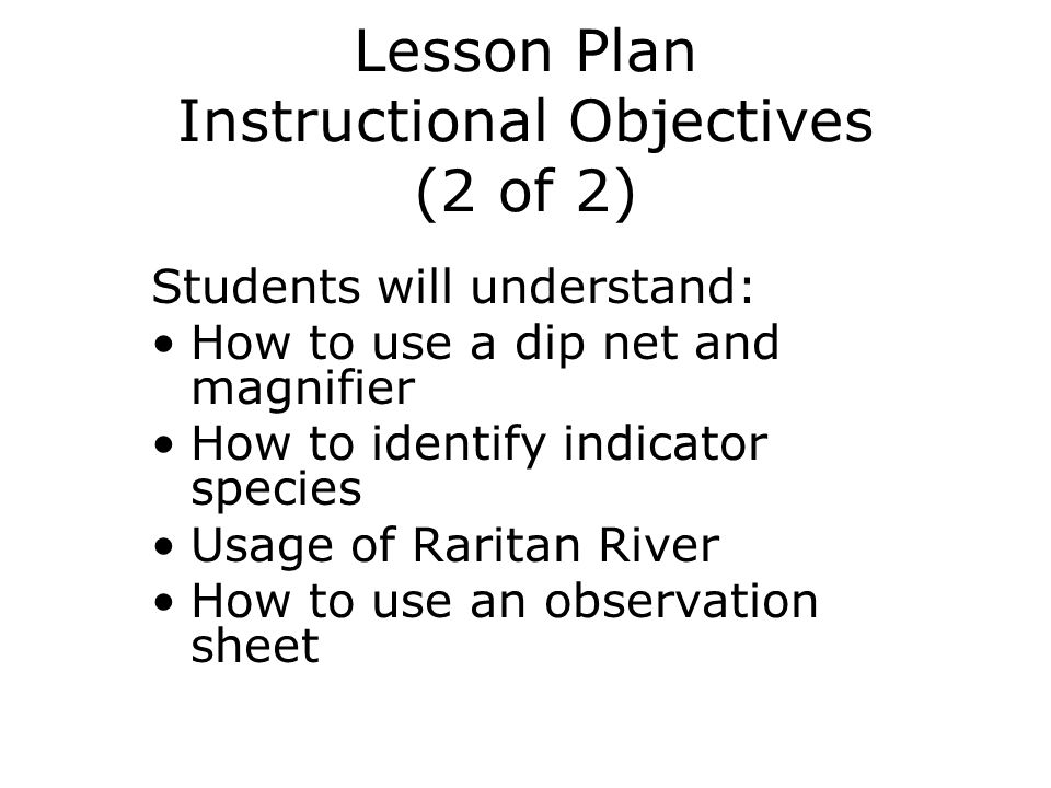 Lesson Plan Instructional Objectives (2 of 2)