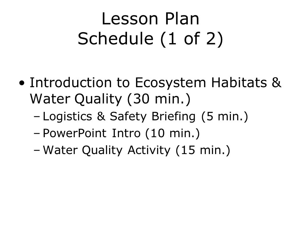 Lesson Plan Schedule (1 of 2)