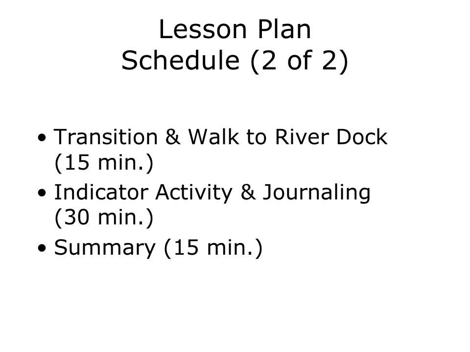 Lesson Plan Schedule (2 of 2)