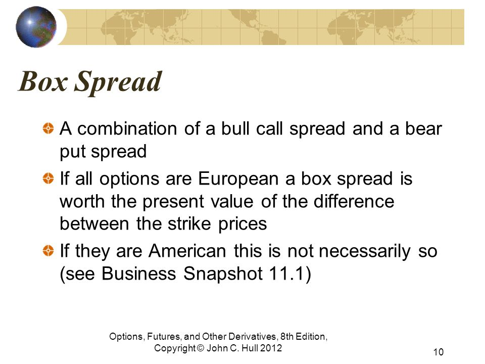 Box Spread A combination of a bull call spread and a bear put spread