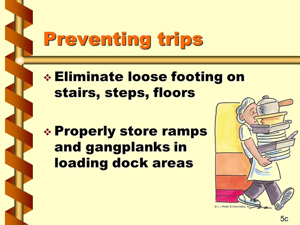 Preventing trips Eliminate loose footing on stairs, steps, floors