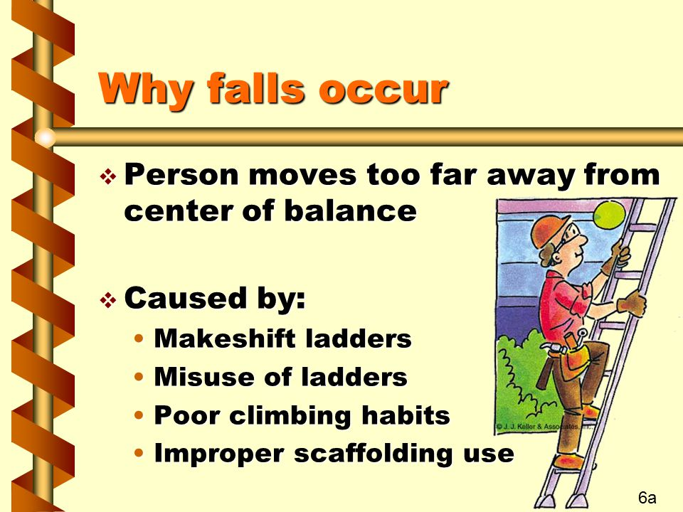 Why falls occur Person moves too far away from center of balance