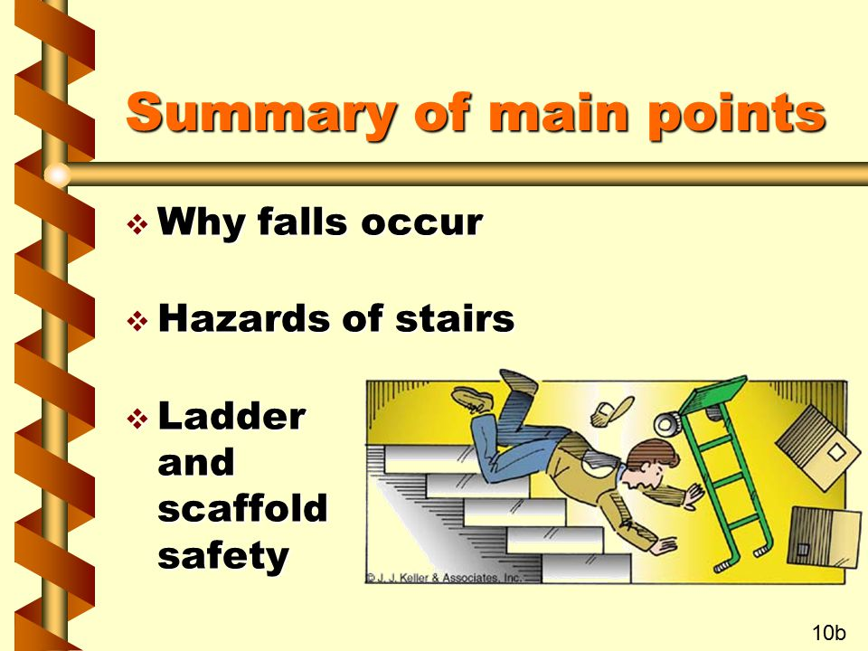 Summary of main points Why falls occur Hazards of stairs