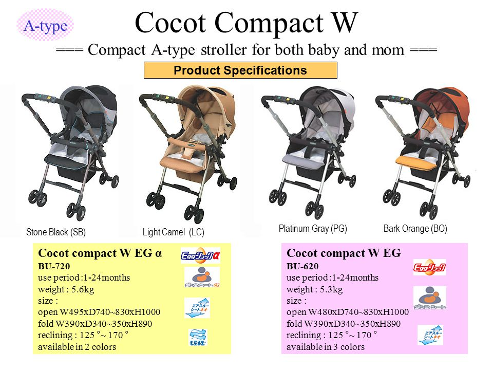 Cocot Compact W === Compact A-type stroller for both baby and mom ===