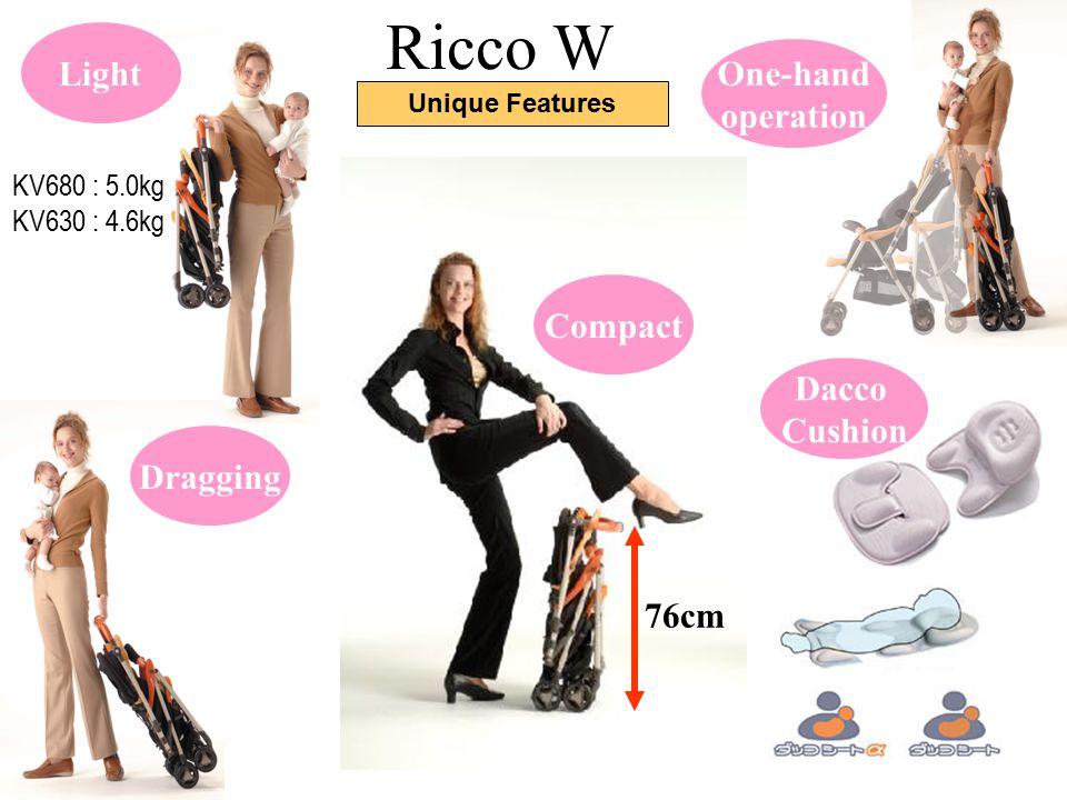 Ricco W Light One-hand operation Compact Dacco Cushion Dragging 76cm