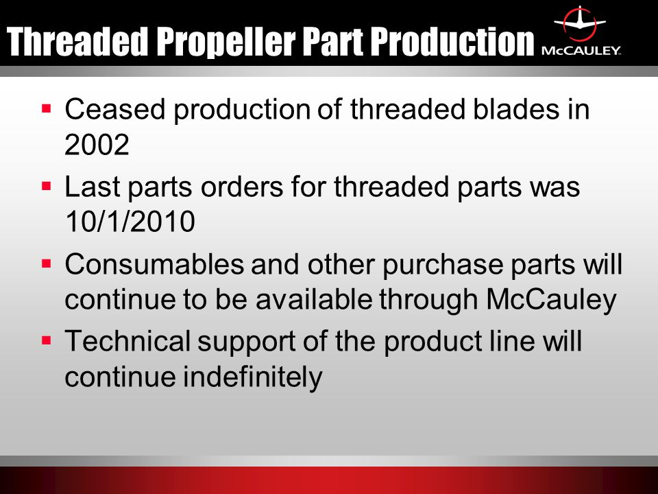 Threaded Propeller Part Production