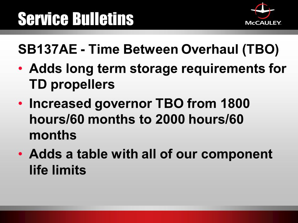 Service Bulletins SB137AE - Time Between Overhaul (TBO)