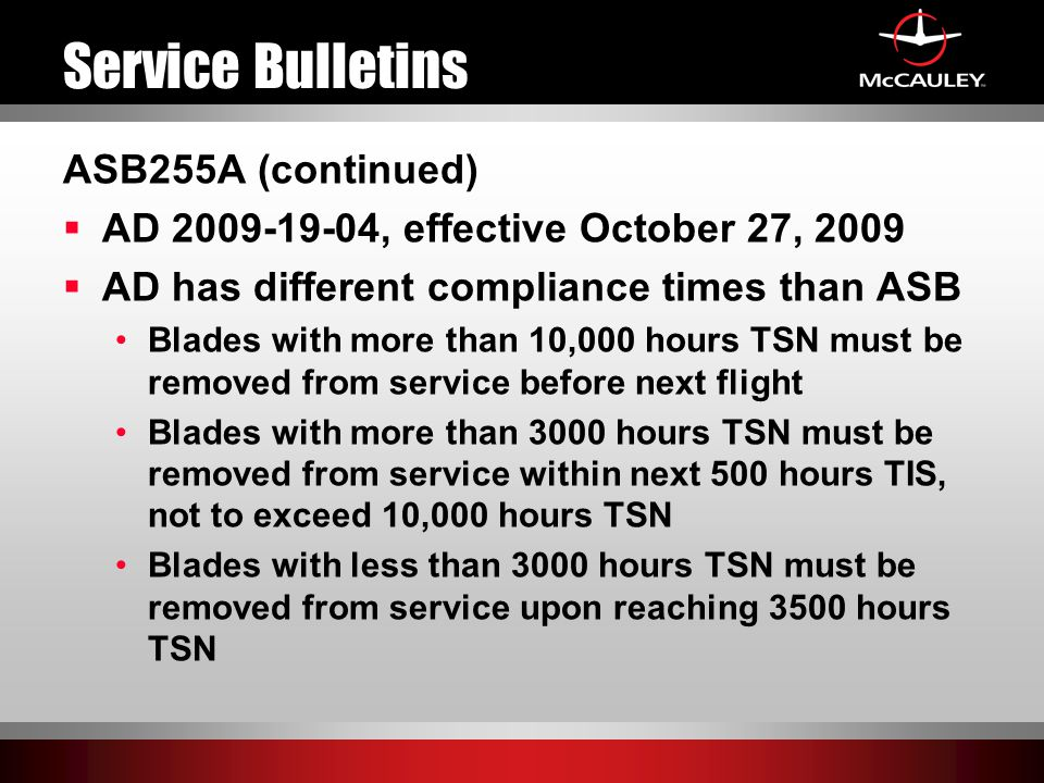 Service Bulletins ASB255A (continued)