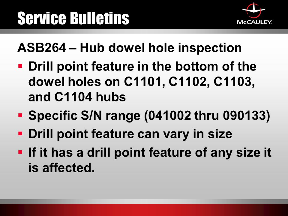 Service Bulletins ASB264 – Hub dowel hole inspection