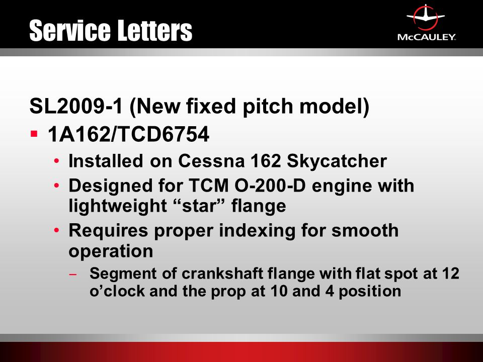Service Letters SL2009-1 (New fixed pitch model) 1A162/TCD6754