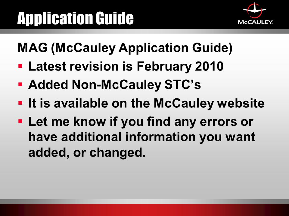Application Guide MAG (McCauley Application Guide)