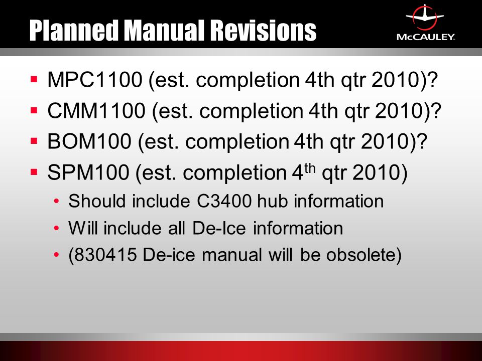Planned Manual Revisions