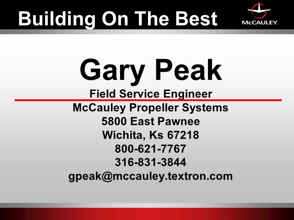 Field Service Engineer McCauley Propeller Systems
