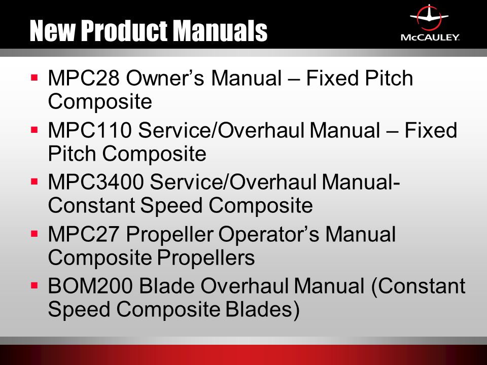 New Product Manuals MPC28 Owner's Manual – Fixed Pitch Composite