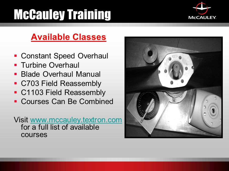 McCauley Training Available Classes Constant Speed Overhaul