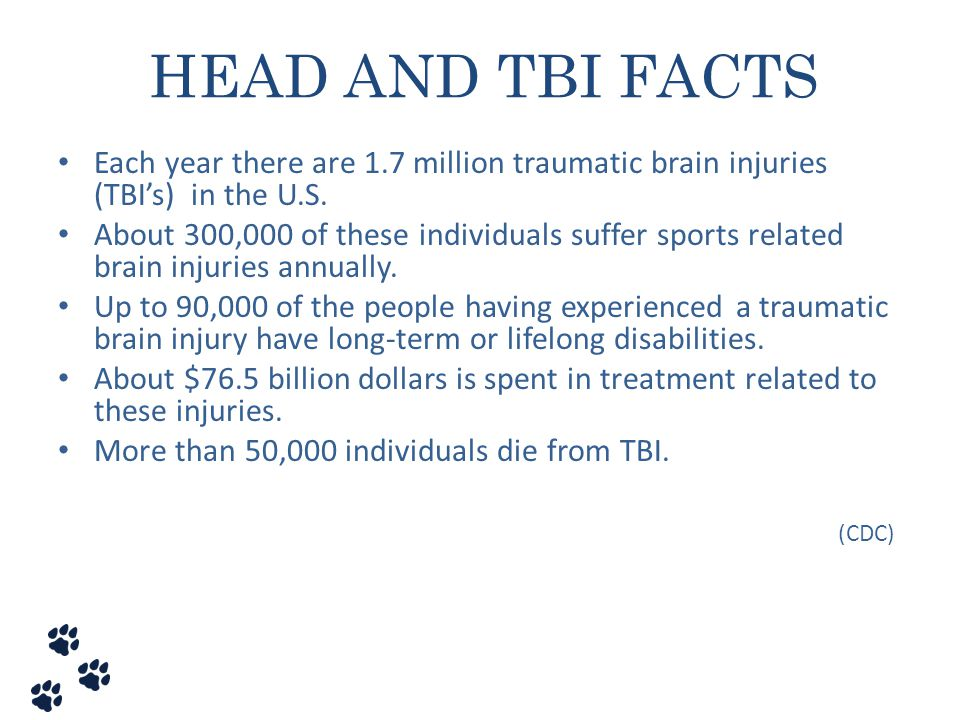 HEAD AND TBI FACTS Each year there are 1.7 million traumatic brain injuries (TBI's) in the U.S.