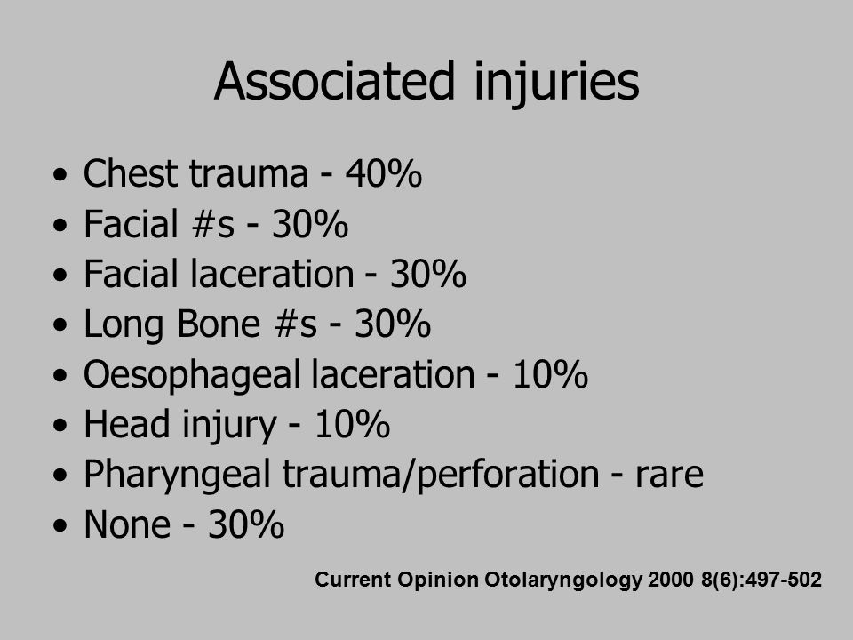 Associated injuries Chest trauma - 40% Facial #s - 30%