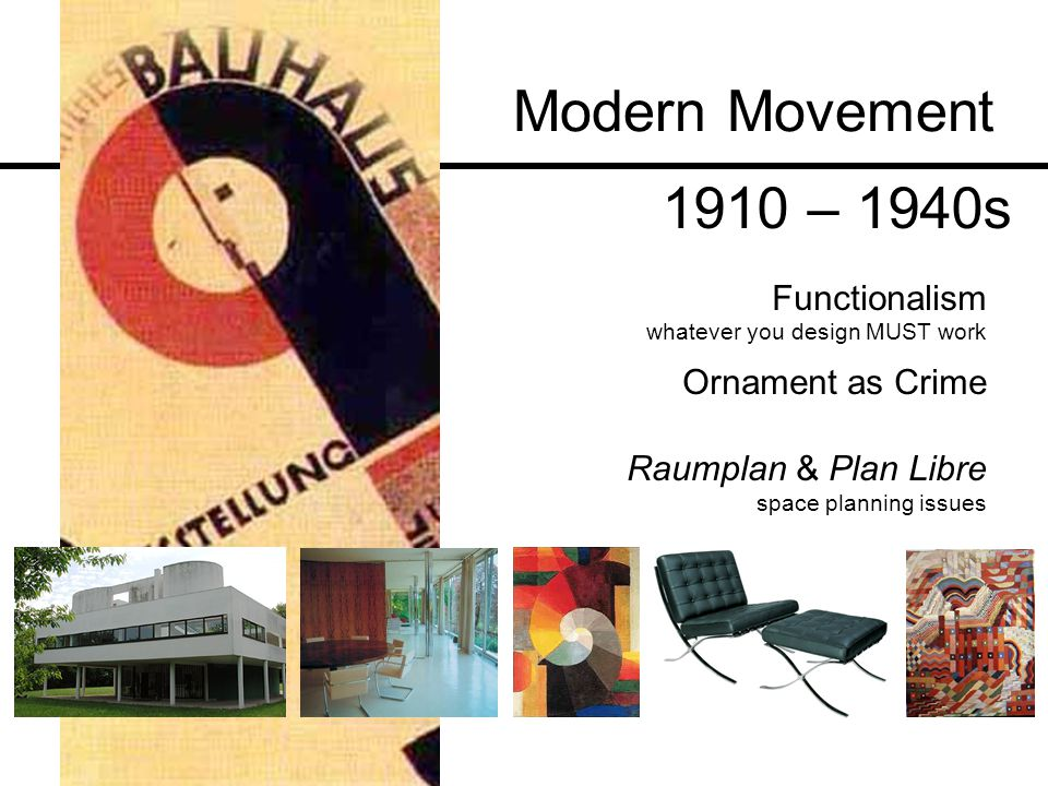 Modern Movement 1910 – 1940s Functionalism Ornament as Crime
