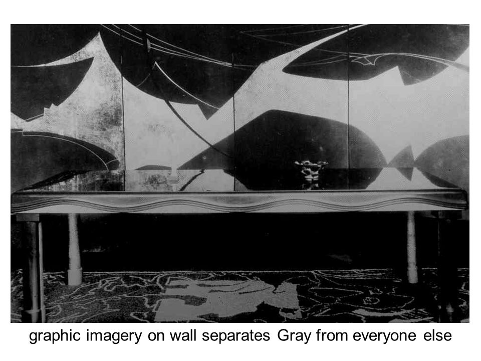 graphic imagery on wall separates Gray from everyone else