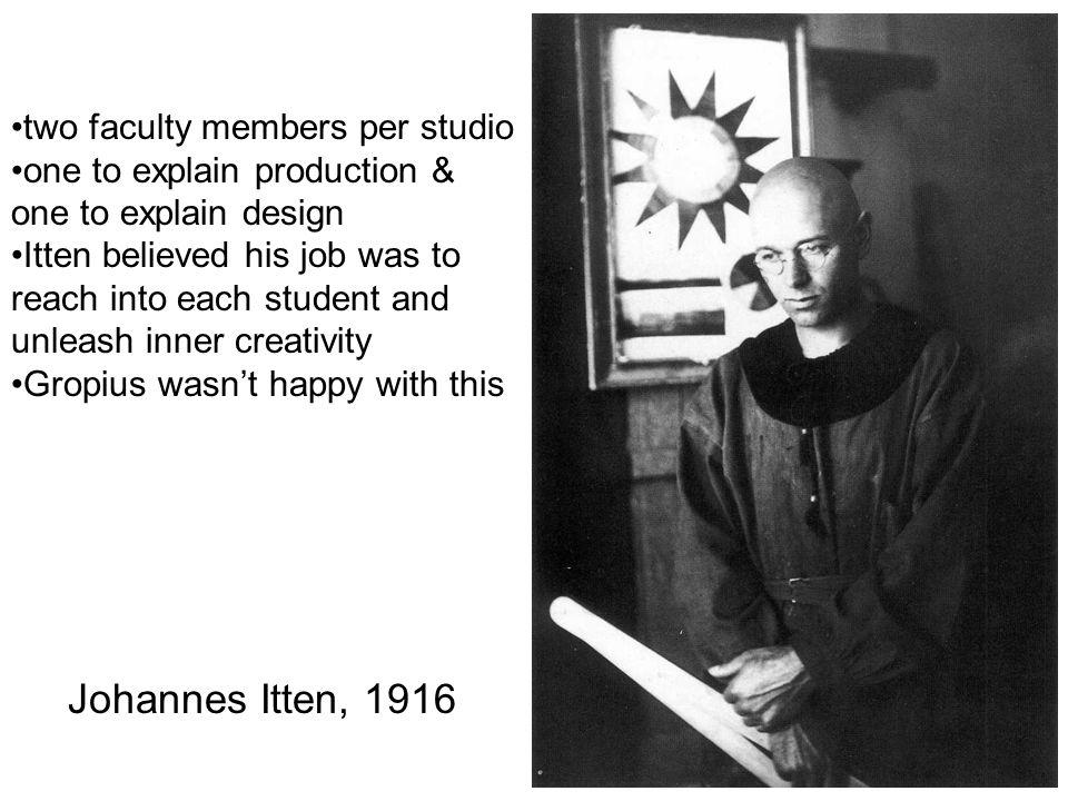 Johannes Itten, 1916 two faculty members per studio