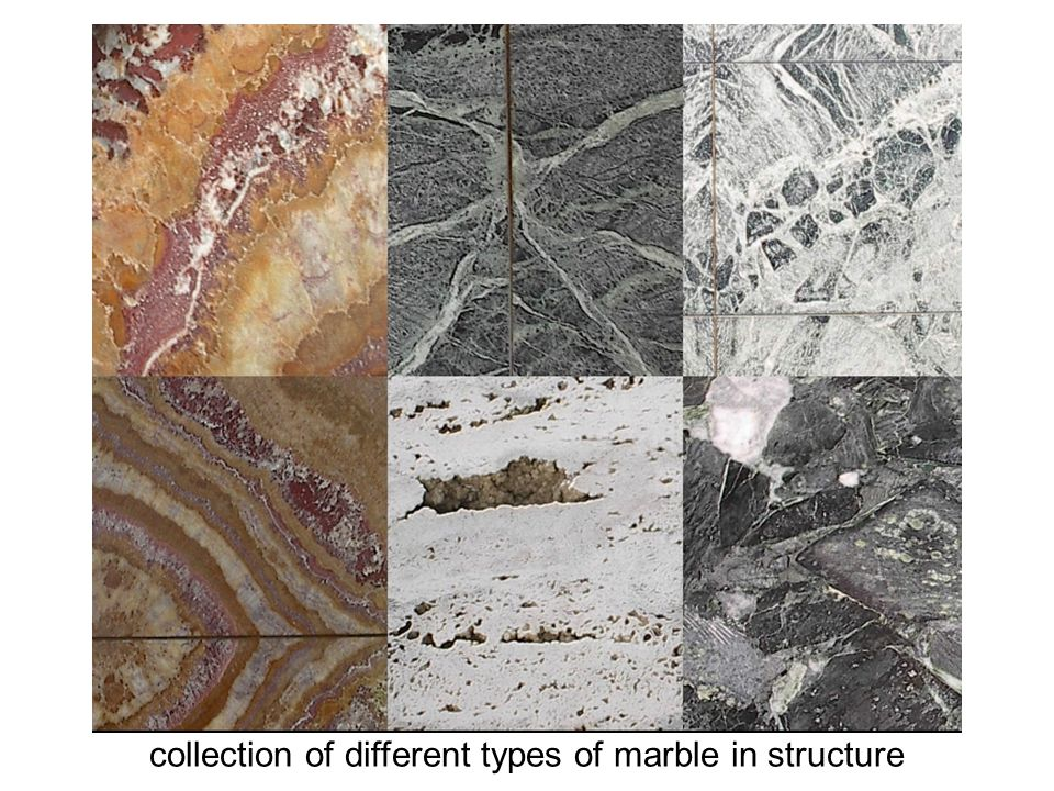 collection of different types of marble in structure