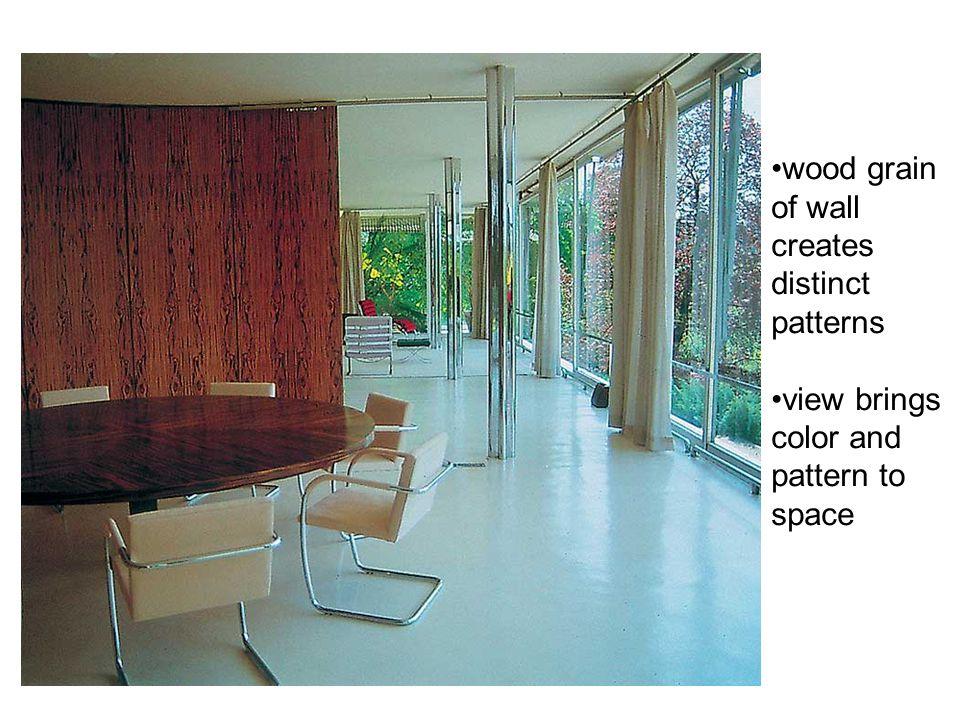 wood grain of wall creates distinct patterns