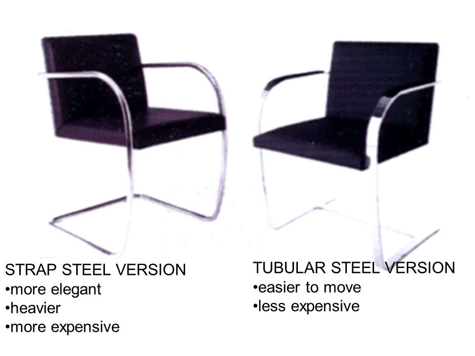 STRAP STEEL VERSION more elegant. heavier. more expensive. TUBULAR STEEL VERSION. easier to move.