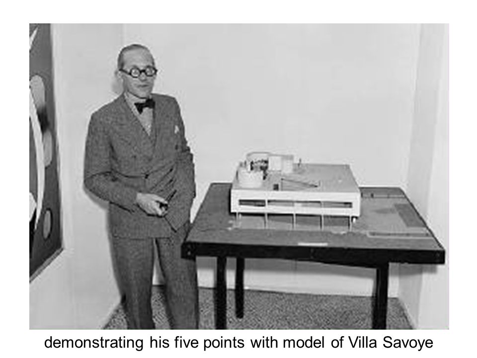 demonstrating his five points with model of Villa Savoye