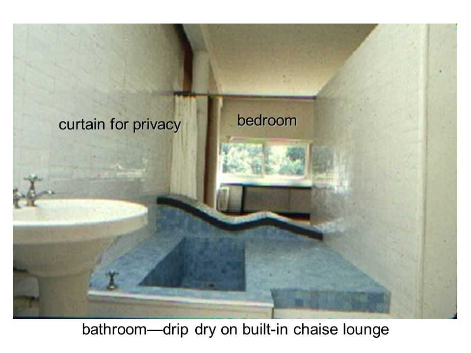 bathroom—drip dry on built-in chaise lounge