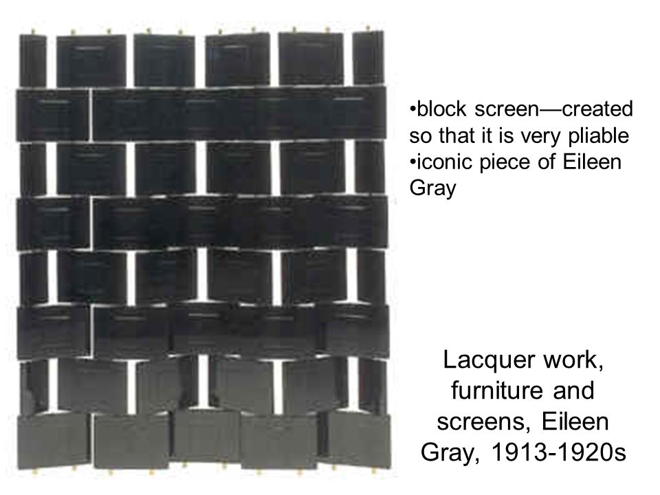 Lacquer work, furniture and screens, Eileen Gray, 1913-1920s