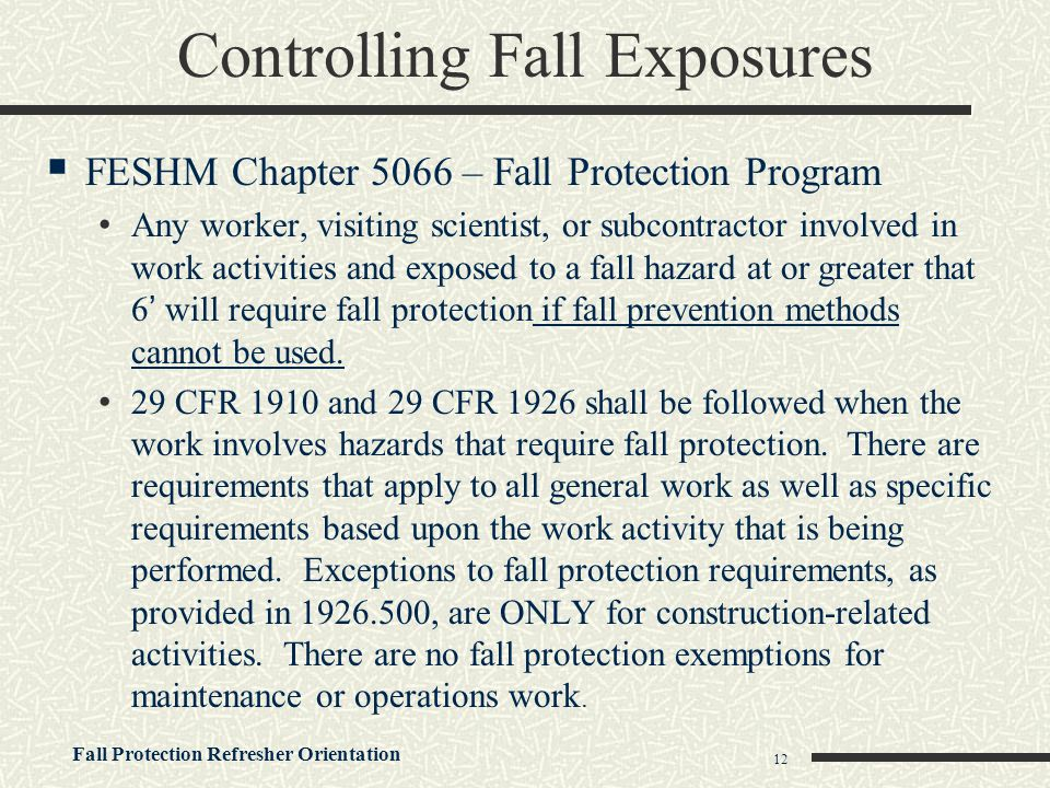 Controlling Fall Exposures