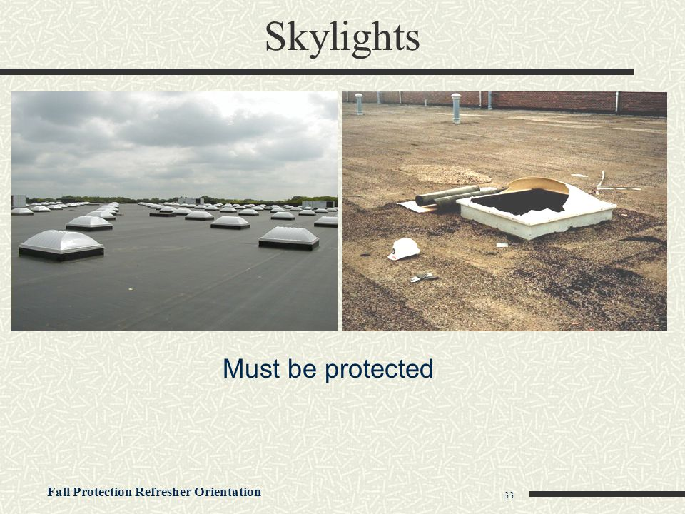 Skylights Must be protected