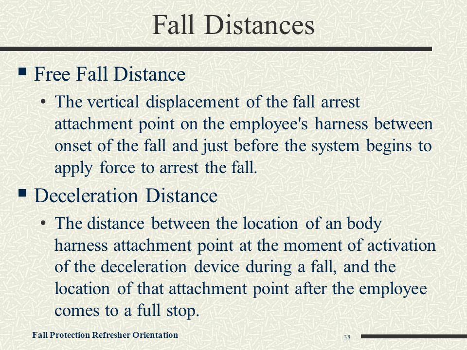 Fall Distances Free Fall Distance Deceleration Distance