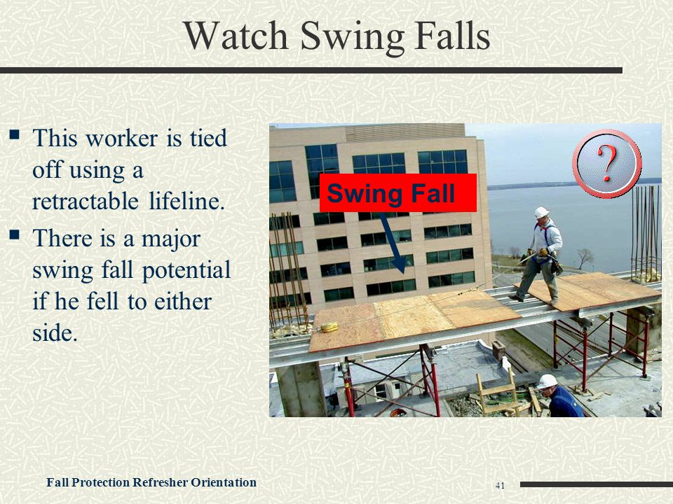 Watch Swing Falls This worker is tied off using a retractable lifeline. There is a major swing fall potential if he fell to either side.