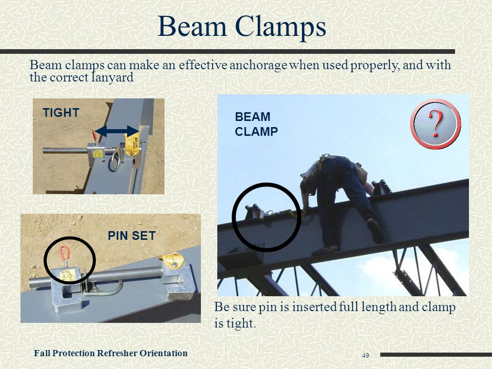 Beam Clamps Beam clamps can make an effective anchorage when used properly, and with the correct lanyard.