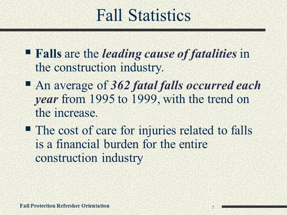 Fall Statistics Falls are the leading cause of fatalities in the construction industry.