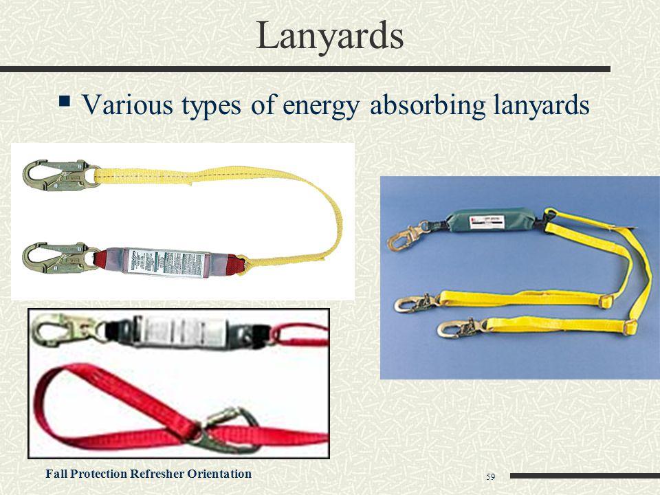 Lanyards Various types of energy absorbing lanyards