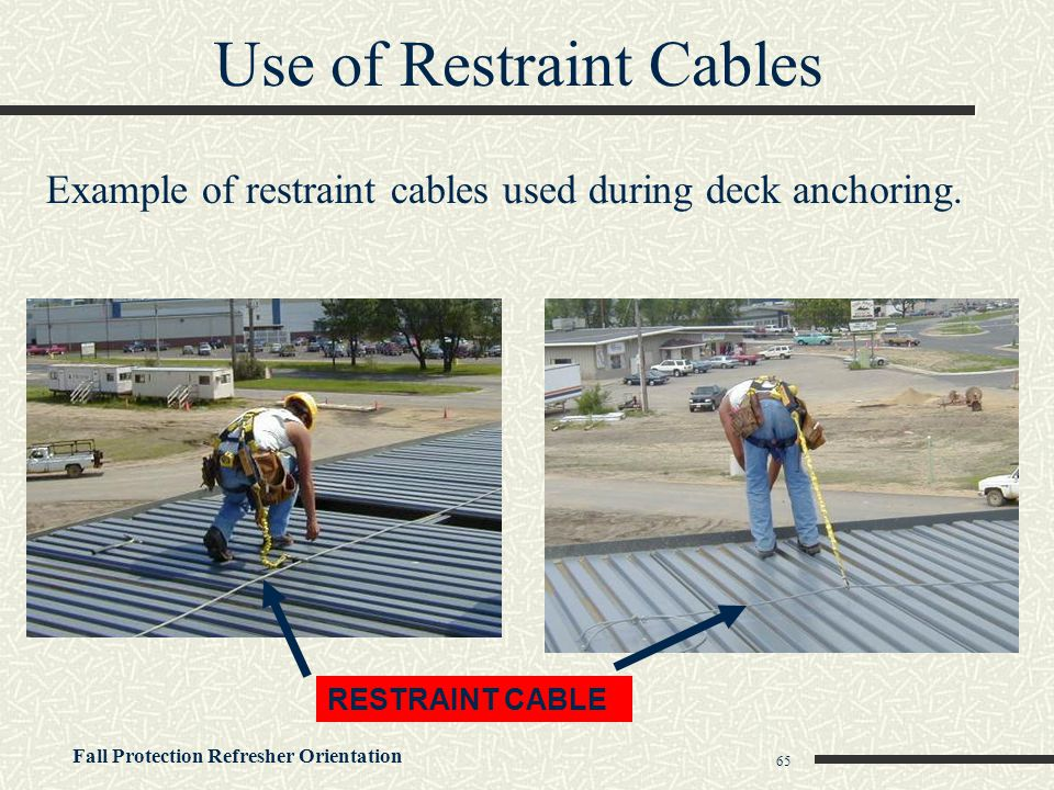Use of Restraint Cables