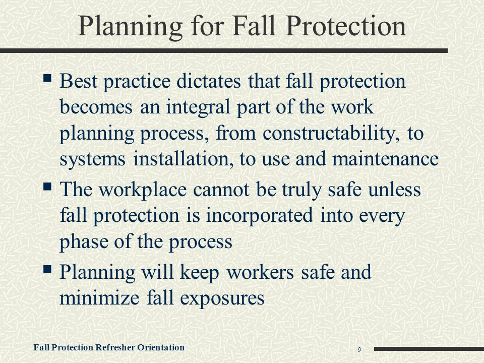 Planning for Fall Protection