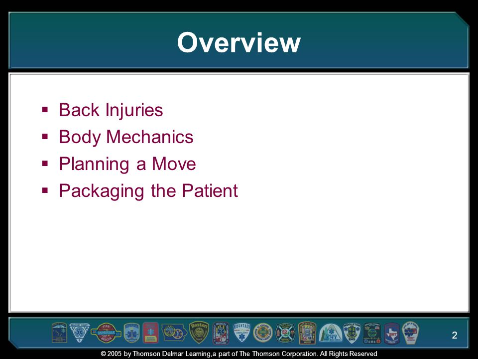 Overview Back Injuries Body Mechanics Planning a Move