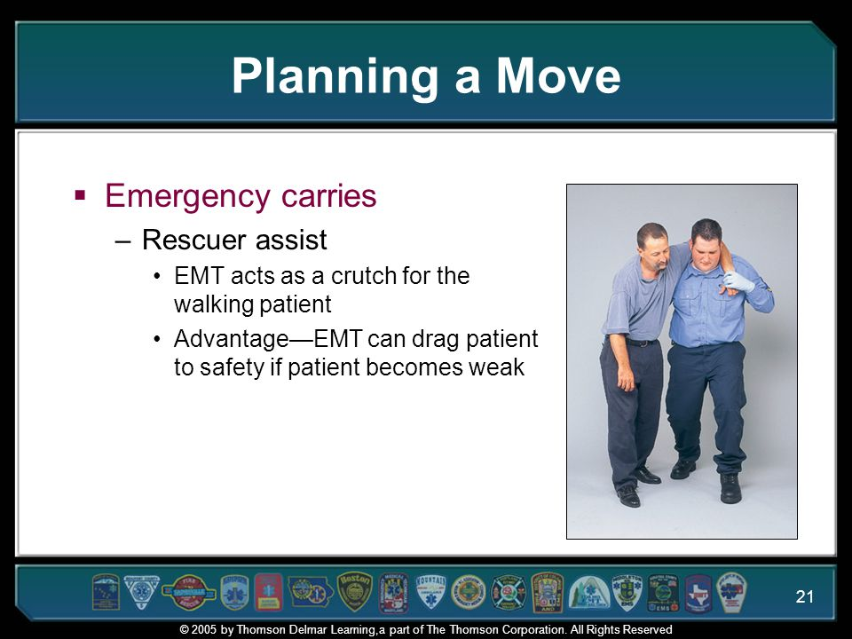 Planning a Move Emergency carries Rescuer assist