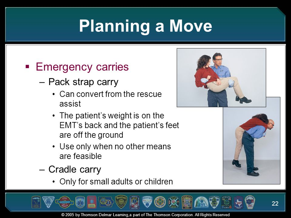 Planning a Move Emergency carries Pack strap carry Cradle carry