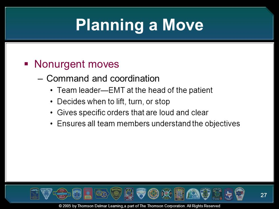 Planning a Move Nonurgent moves Command and coordination