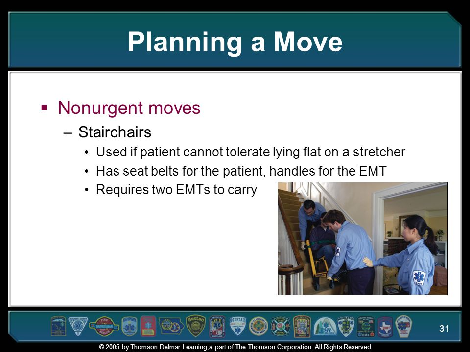 Planning a Move Nonurgent moves Stairchairs