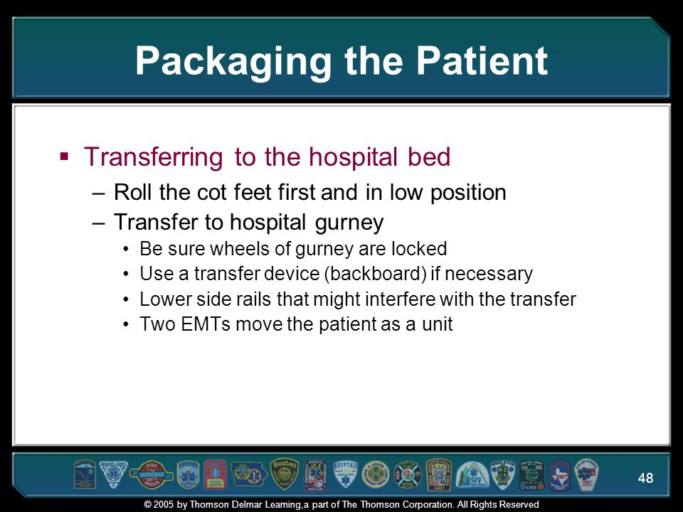Packaging the Patient Transferring to the hospital bed