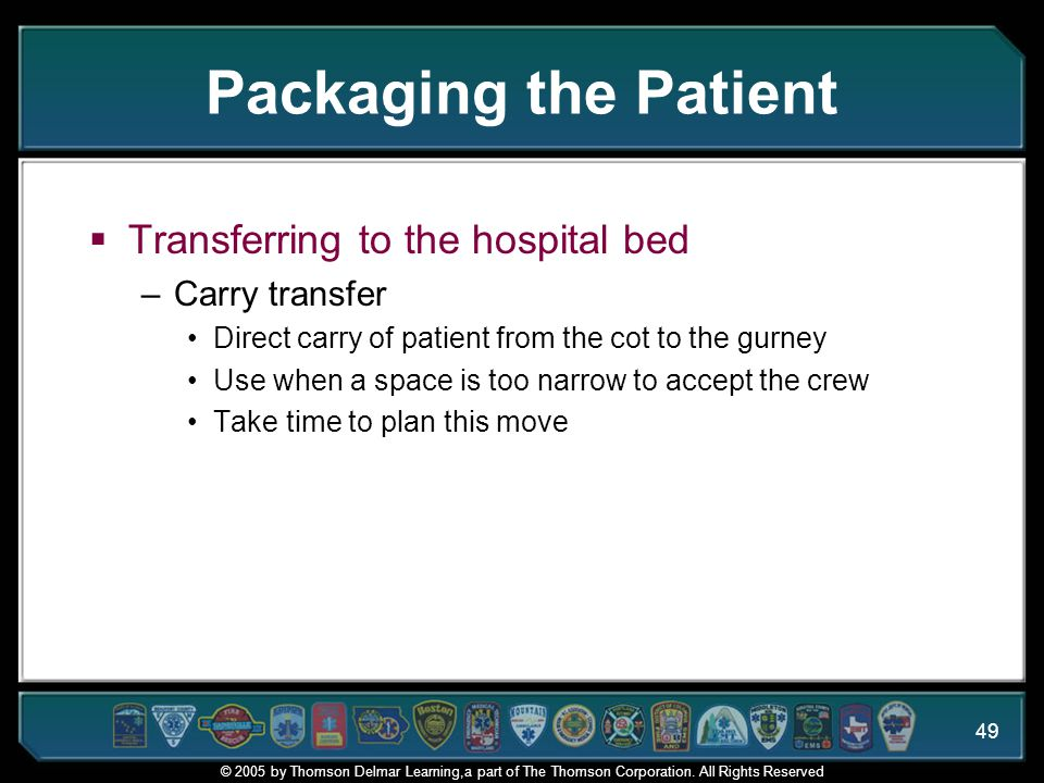 Packaging the Patient Transferring to the hospital bed Carry transfer