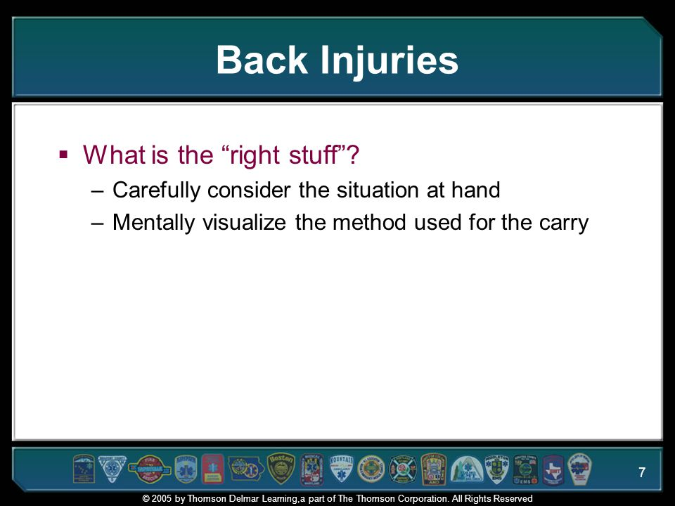 Back Injuries What is the right stuff