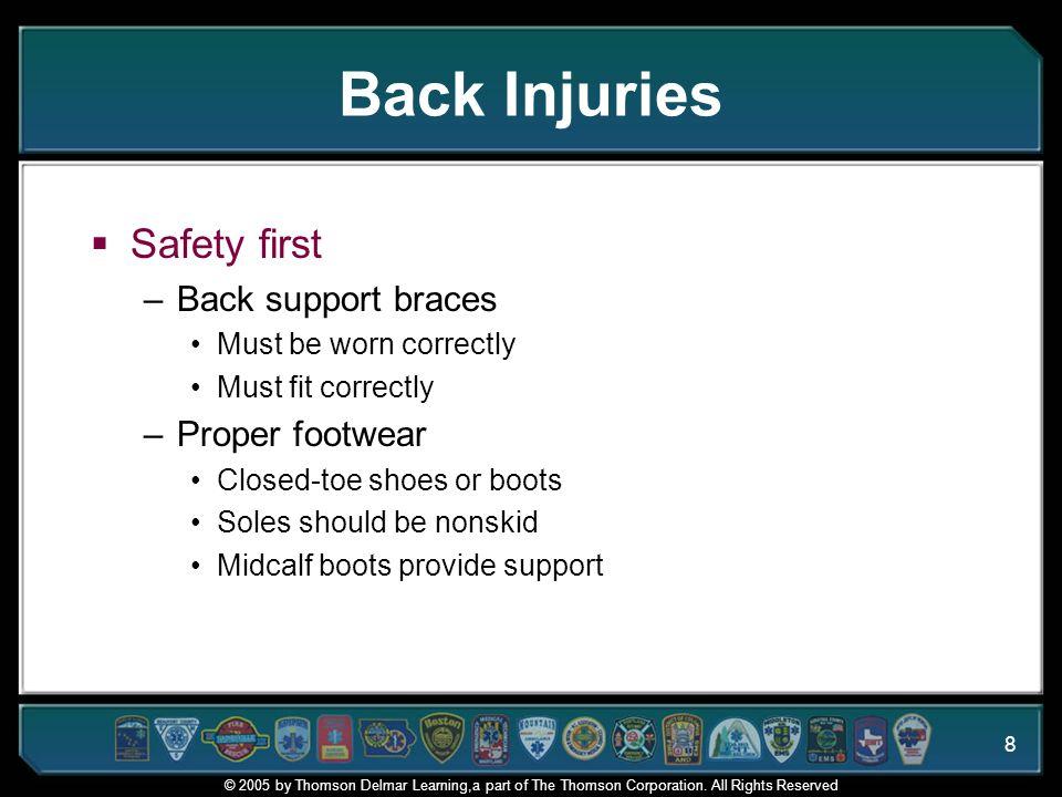 Back Injuries Safety first Back support braces Proper footwear